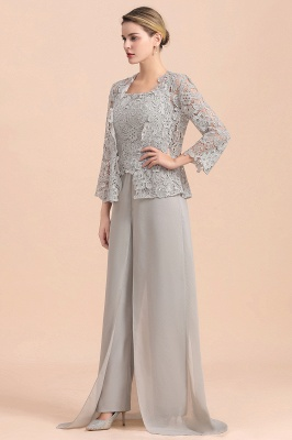 Modern Silver Chiffon Mother of Bride Pants Set with Lace Jacket_5