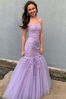 Straps Appliques Tulle Mermaid Lilac Prom Dresses | Long Sparkly Evening Dresses