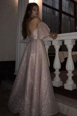 Stunning Off the Shoulder Puffy Length High Slit Prom Dresses_2