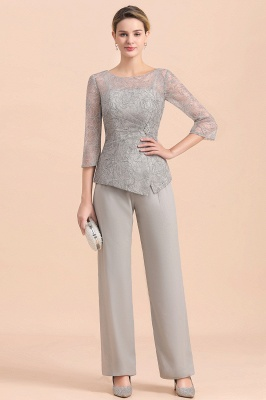 Gorgeous Grey Round Neck Half Sleeves Lace Mother of Bride Jumpsuits