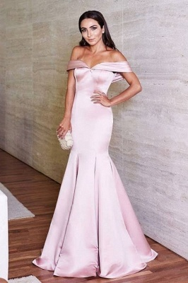 Glossy Pink Mermaid Prom Dresses Off-the-Shoulder Evening Gowns_2