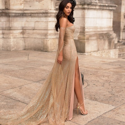 Off the Shoulder Long Sleeves Prom Dresses with Side Slit | Sparkly Floor Length Evening Dresses_3