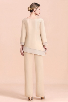 Bateau 3/4 Sleeves Chiffon Champagne Mother of Bride Pants Suits_3