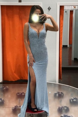 Straps Sweetheart Form-fitting Sequin Prom Dresses with Side Slit_1