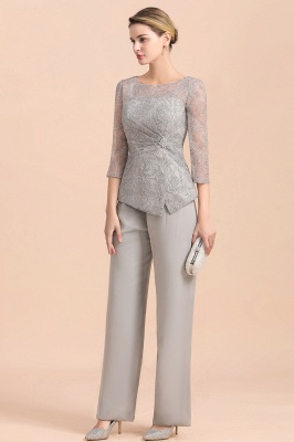 Gorgeous Grey Round Neck Half Sleeves Lace Mother of Bride Jumpsuits_6