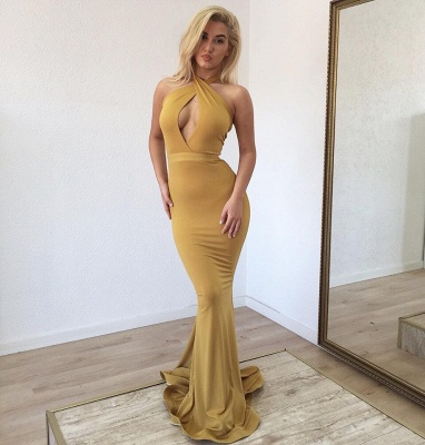 Ginger Keyhole Mermaid Long Prom Dresses | Hot Sexy Party Gown_2
