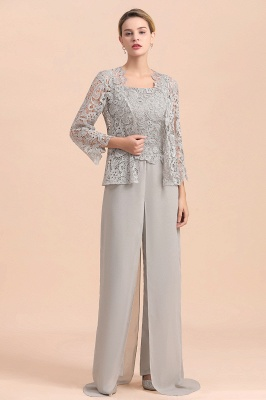 Modern Silver Chiffon Mother of Bride Pants Set with Lace Jacket_4