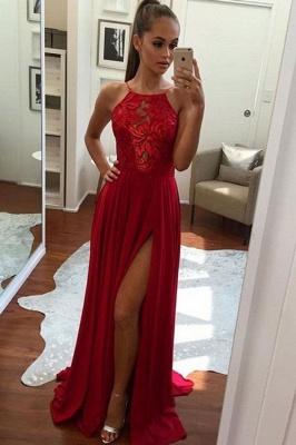 Split Halter Chiffon Red Sexy Prom Dress 2018_2