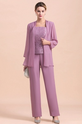 Fashion Lilac Chiffon Mother of Bride Pant Set with Half Sleeves Jacket_1