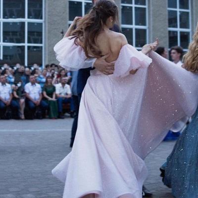 Stunning Off the Shoulder Puffy Length High Slit Prom Dresses_5