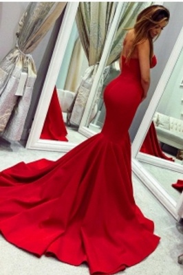 Red Sweetheart  Fit and Flare Backless Floor Length Mermaid Prom Dresses   Cheap Fitted Evening Dresses_2