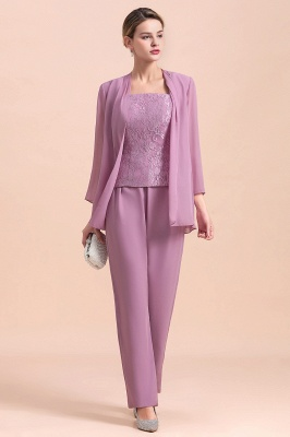 Fashion Lilac Chiffon Mother of Bride Pant Set with Half Sleeves Jacket_6