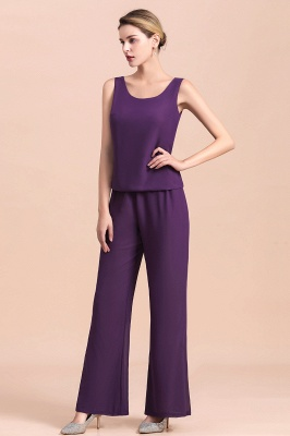 Fashion Grape Chiffon Mother of Bride Pants Suits t with Jacket_11