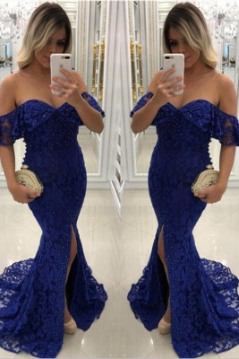 Sweetheart Off-shoulder Floor-length Split Pearls Lace Mermaid Prom Dresses_2