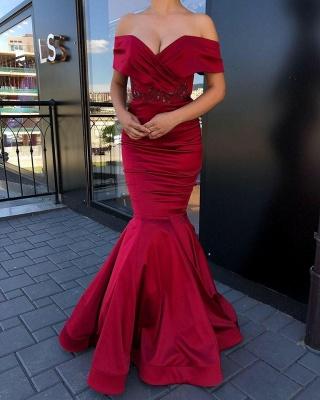 Exquisite Off Shoulder Mermaid Floor Length Burgundy Prom Dresses_2
