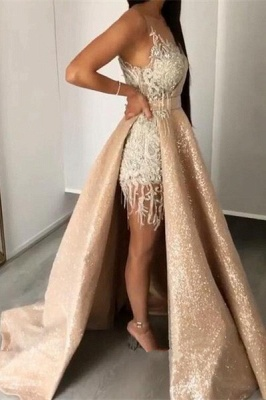 Unique Jewel Sleeveless Special Design Sweep Train Prom Dresses_1