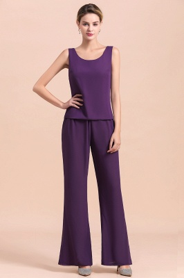 Fashion Grape Chiffon Mother of Bride Pants Suits t with Jacket_12