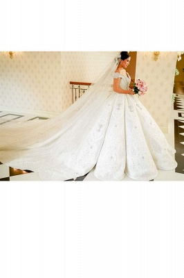Luxury Off the Shouder Crystal Princess Ball Gown Wedding Dresses with Sweep Train_4