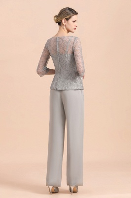 Gorgeous Grey Round Neck Half Sleeves Lace Mother of Bride Jumpsuits_3