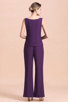 Fashion Grape Chiffon Mother of Bride Pants Suits t with Jacket_13