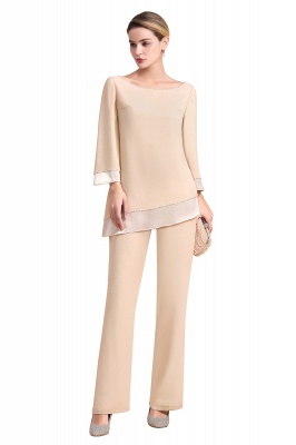 Bateau 3/4 Sleeves Chiffon Champagne Mother of Bride Pants Suits_7