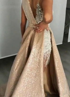 Unique Jewel Sleeveless Special Design Sweep Train Prom Dresses_3