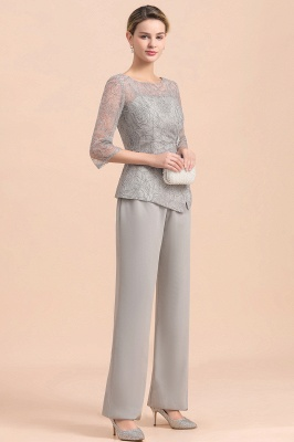 Gorgeous Grey Round Neck Half Sleeves Lace Mother of Bride Jumpsuits_7