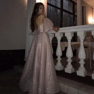 Stunning Off the Shoulder Puffy Length High Slit Prom Dresses_4