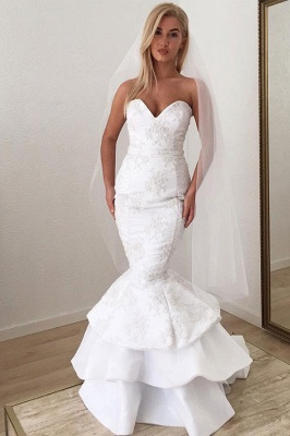 Sexy Sweetheart Applique Lace Ruffles Sash Mermaid wedding Dress_3