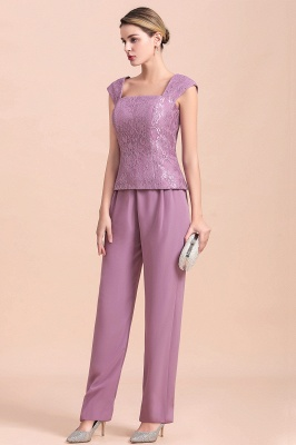 Fashion Lilac Chiffon Mother of Bride Pant Set with Half Sleeves Jacket_9