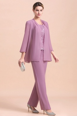 Fashion Lilac Chiffon Mother of Bride Pant Set with Half Sleeves Jacket_4