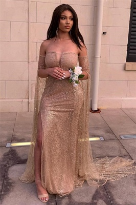Off the Shoulder Long Sleeves Prom Dresses with Side Slit | Sparkly Floor Length Evening Dresses_2