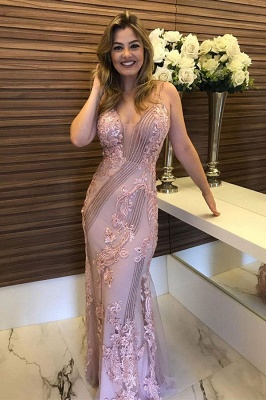 Sleeveless Beaded Appliques Dusty Pink Fitted Prom Dresses | Long Evening Dresses_1