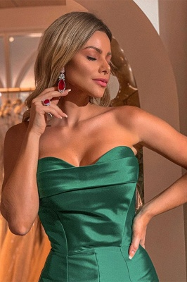 Sexy Green Strapless Front Slit Floor Length Mermaid Prom Dresses | Fit and Flare Evening Dresses_2