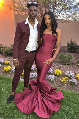 Burgundy Strapless Sleeveless Fitted Mermaid Prom Dresses |Floor Length Eevning Dresses_1