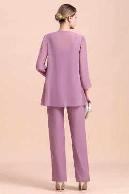 Fashion Lilac Chiffon Mother of Bride Pant Set with Half Sleeves Jacket_3