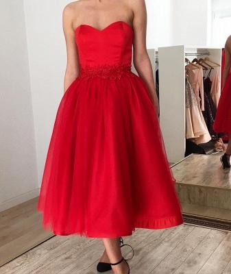Red Strapless Sweetheart Tulle Tea Length Midi Prom Dresses_2
