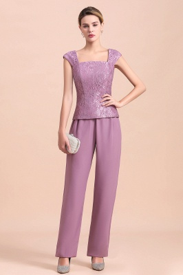 Fashion Lilac Chiffon Mother of Bride Pant Set with Half Sleeves Jacket_7