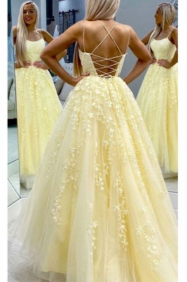 Criss-cross Straps A-line Lace Appliques Tulle Blue Prom Dresses_3