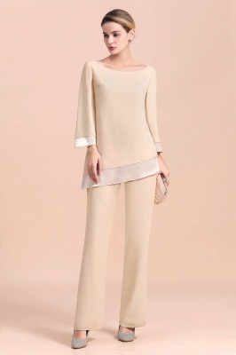 Bateau 3/4 Sleeves Chiffon Champagne Mother of Bride Pants Suits