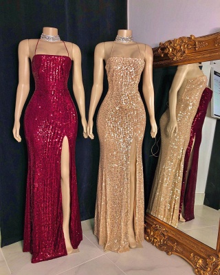 Sexy Spaghetti Straps Sequins Column Prom Dresses with Criss-cross Straps Back Details_3