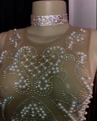 Gorgeous Jewel Sleeveless Floor Length Beading Sheer Prom Dresses_2