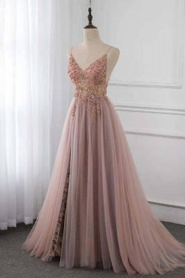 Spaghetti Straps V-neck Beaded Sheer A-line Tulle Prom Dresses_3