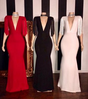 Gorgeous Deep V-neck Column Prom Dresses with Fringes on Sleeves_2