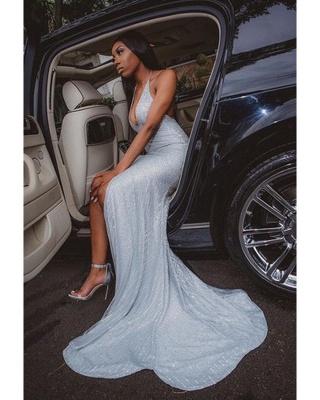 Glitter Halter Deep V-neck Sequin Prom Dresses with Side Slit_2