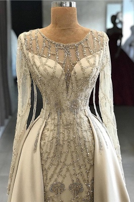 Luxury Jewel Beaded Prom Gowns with Long Sleeves_2