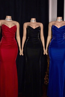 Sleek Strapless Floor Length Sweetheart Fitted Prom Dresses