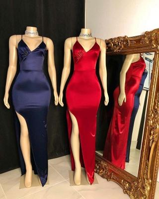 Sleek Spaghetti Straps V-neck Floor Length Prom Dresses with Side Slit_2