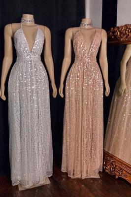 Sparkly Spaghetti Straps Deep V-neck Aline Sequins Prom Dresses