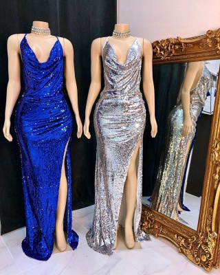 Spaghetti Straps Draped Neckline Sequins Long Prom Dresses with Side Slit_2